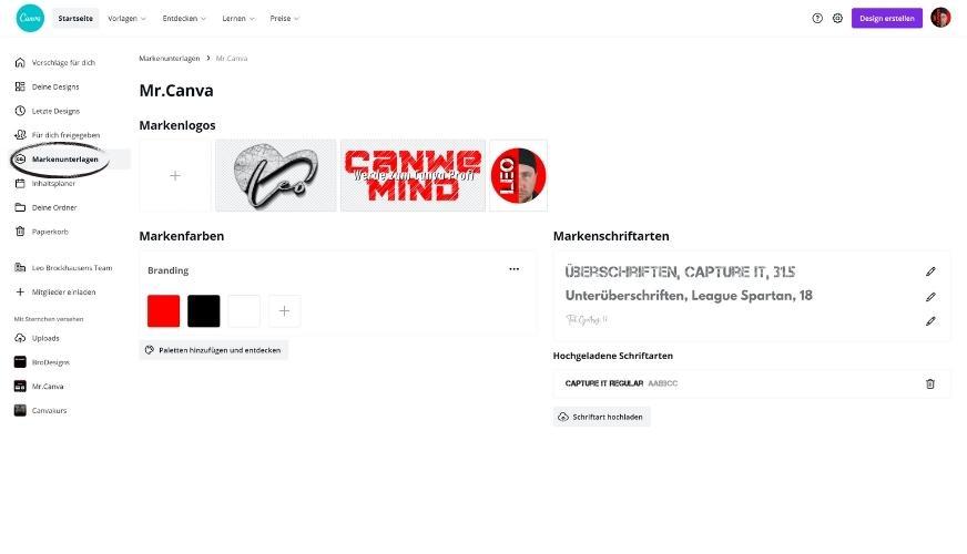 Canva Pro Markenunterlagen festlegen