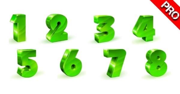 Canva Suchbegriffe 3D Elemente - 3D Green Number