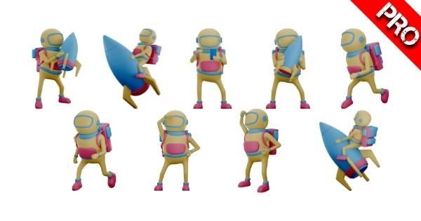 Canva Suchbegriffe 3D Elemente - 3D Astronaut Character Cartoon