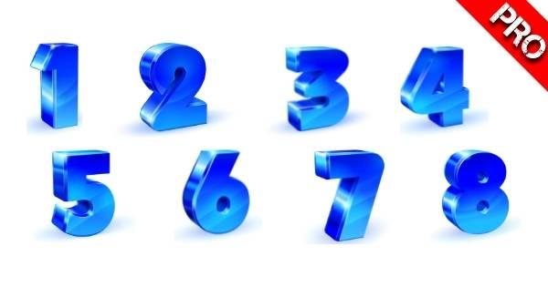Canva Suchbegriffe 3D Elemente - 3D Blue Number