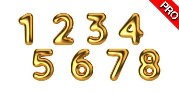 Canva Suchbegriffe 3D Elemente - Gold 3D Number